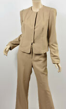 MAGASCHONI COLLECTION Tan Lightweight Stretch Jacket & Wide Leg Pants Suit M 10