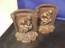 """2 BEAUTIFUL VINTAGE BRONZE """"THE THINKER"""" STATUE BOOK ENDS BOOKENDS ~4"""" x 5"""" x 2"""""""
