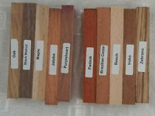 A mixed pack of ten wood blanks for pen turning and other small projects