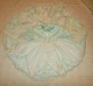 Vintage Mary Louise Aqua Full Circle Ruffle Pageant Dress & Pinafore 18 Months