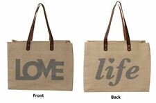 Earthwise Reusable Grocery Bag Shopping Tote Cotton Jute Burlap with Leather Han