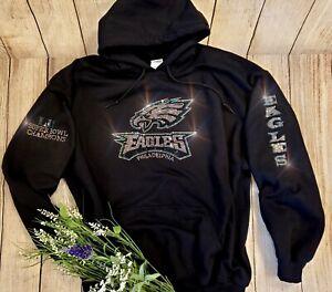 New Women's Philadelphia Eagles Hoodie Sweatshirt size Medium Rhinestones Bling