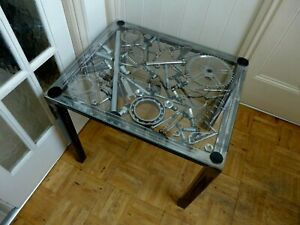 Coffee Table Handmade Steampunk Very Unique Design Metal Sculpture Glass Top B