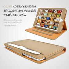 Apple iPad Mini Tan leather Wallet Smart Flip Case Cover Brown & Tan