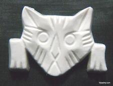 Vintage White Cellulose Acetate Thermoset Plastic Kitty Cat Kitten Face Pin