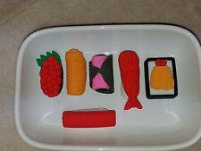Fake Sample Food Sushi Erasers 6 Piece New NIB