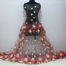 """1Meter 3D Flower Organza Chiffon Printing White Lace Fabric For Dress Wide 55"""""""
