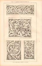 1871 ANTIQUE ARCHITECTURE, DESIGN PRINT- FLAT CARVINGS AND SURFACE ORNAMENT #1
