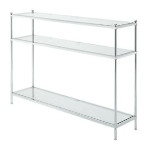 Convenience Concepts Royal Crest Console Table, Chrome/Glass - 134099