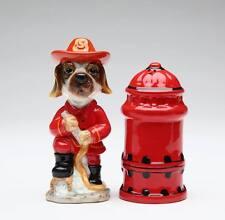 41012 Fire Fighter Beagle Dog Hydrant Salt Pepper Shaker Set Kitchen Fireman