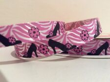 SHOES AND FLOWERS DESIGN SATIN RIBBON WHITE AND PINK 1yd x 9.5mm