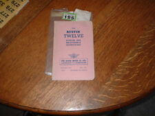 AUSTIN TWELVE 12 RUNNING AND MAINTENANCE INSTRUCTION BOOK. 1946