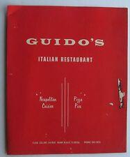 Restaurant Menu For Guido's Italian Restaurant Collins Ave. Miami Beach Florida