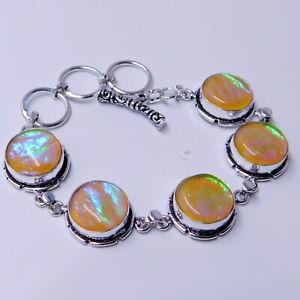 Australian Triplet Opal 925 Sterling Silver Plated Handmade Jewelry Bracelet 19g