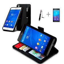 BLACK Wallet 4in1 Accessory Bundle Kit S TPU Case Cover For SONY XPERIA Z4