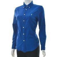 Ralph Lauren Kids Girls Custom Fit women Shirt Button Down Long Sleeve Blue L