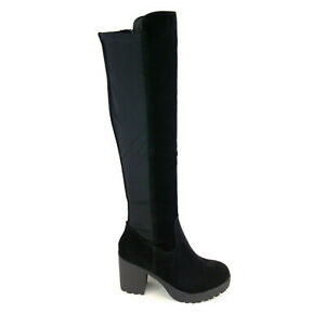 WOMENS SUEDE OVER THE KNEE HIGH STRETCH PLATFORM BLOCK HEEL RIDING BOOTS SIZE