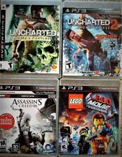 4 NINTENDO PLAYSTAION VIDEO Game Lot 2x UnCharted/LEGO MOVIE/Assassins Creed 3