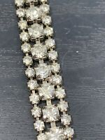Vintage Ladies clear Rhinestone Wedding Event Size Small Bracelet 6 1/4""