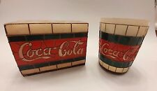 Faux Stained Glass Plastic Coca-Cola Toothbrush Holder & Tumbler Bathroom Set