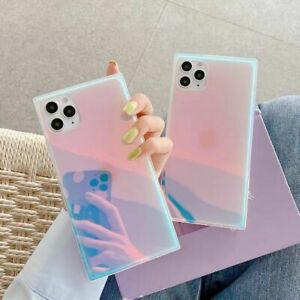 Bling Square Laser Phone Case Cover for iPhone 12 11 Pro XS XR Max 8 7 Plus