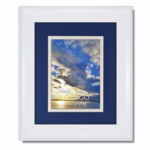 One 16x20 Metro White Picture Frame with Blue/White Mat to fit 11x14 image