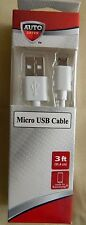 Auto Drive 3' White Micro USB Cable for Samsung Full 2.0 Support Ship FREE in US