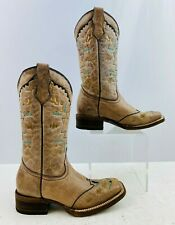 Kids Corral Brown Leather Square Toe Western Cowgirl Boots Size: 2.5T