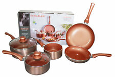 Cermalon Copper Ceramic Milk Pan Cookware Set – Scratch Resistant Non Stick 5Pc