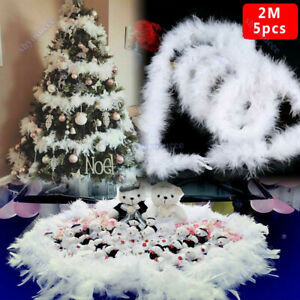 5/10PCS 2M Xmas Tree White Feather Strip Ribbon Party Garland Wedding Gift Decor