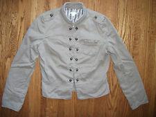 APT 9 Womens M Tan Caramel Cotton Short Lined Casual Jacket w Brass Buttons