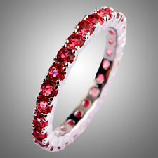 Fashion Women Round Cut Ruby Spinel Gemstone Silver Ring Jewelry Size 6-13