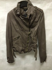 Muubaa Women's Dusky Grey Leather Biker Jacket. RRP £339. M0082. UK 8.