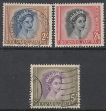 Rhodesia & Nyasaland #151-53 used QE2 hi vals 1954 cv $24.50
