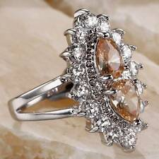 PEAR CUT MORGANITE & WHITE TOPAZ .925 SILVER RING SIZE 7