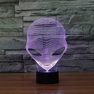 3D Lamp UFO Alien Optical Illusion Led Night Light 7 Color Touch Switch