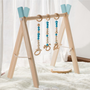 Foldable Baby Play Gym Frame with 3 Wooden Baby Teething Toys Blue,Gray