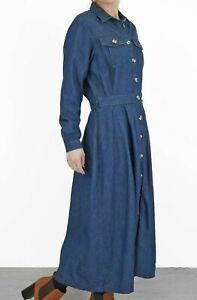 White Stuff Ladies Mid Blue Romy Denim Long Sleeve Midi Button Dress All Sizes