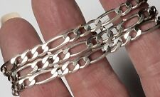 "Designer Figaro Link Chain Necklace Unisex 4.7 Wide 20"" Long High Shine 14.4g"