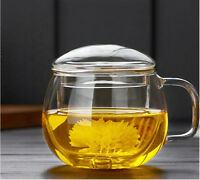 300ml Heat Resistant Thicken Clear Glass Tea Cup Herbal Mug with Infuser Set