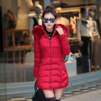 Winter Women Ladies Down Warm Long Padded Fur Collar Hooded Coat Jacket Outwear
