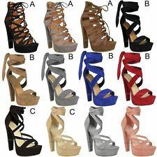 High Heel Platform Party Sandals Womens Ladies Lace Tie Up Sexy Shoes New Size