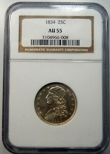 1834 Capped Bust Quarter - NGC Certified AU55 !!