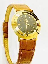 Vintage Geneva Men's Diamond Quartz Wrist Watch GoldTone  N.O.S 1980s (20975M)