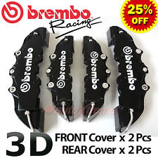 BLACK Brembo Style Universal Disc Brake Caliper Covers 4PCS Front & Rear NEW 3D