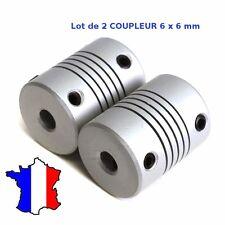 2x Coupleur 6x6mm Aluminium - Shaft Flexible Coupling Coupler 6 * 6 mm - CNC