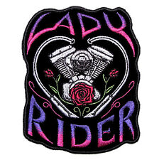 Lady Rider Motorcycle Engine Roses Heart Embroidered Biker Patch