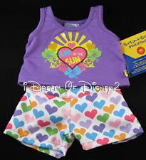 NEW Build-A-Bear RAINBOW HEARTS SHORTS SET 'FUN IN THE SUN' Teddy Clothes Outfit