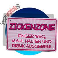 METALL SCHILD 19 x 12,5cm Sprüche Spruch Schilder Blech ZICKENZONE FINGER WEG,