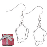 .925 Sterling Silver Diamond-Cut Flower Drop Earrings